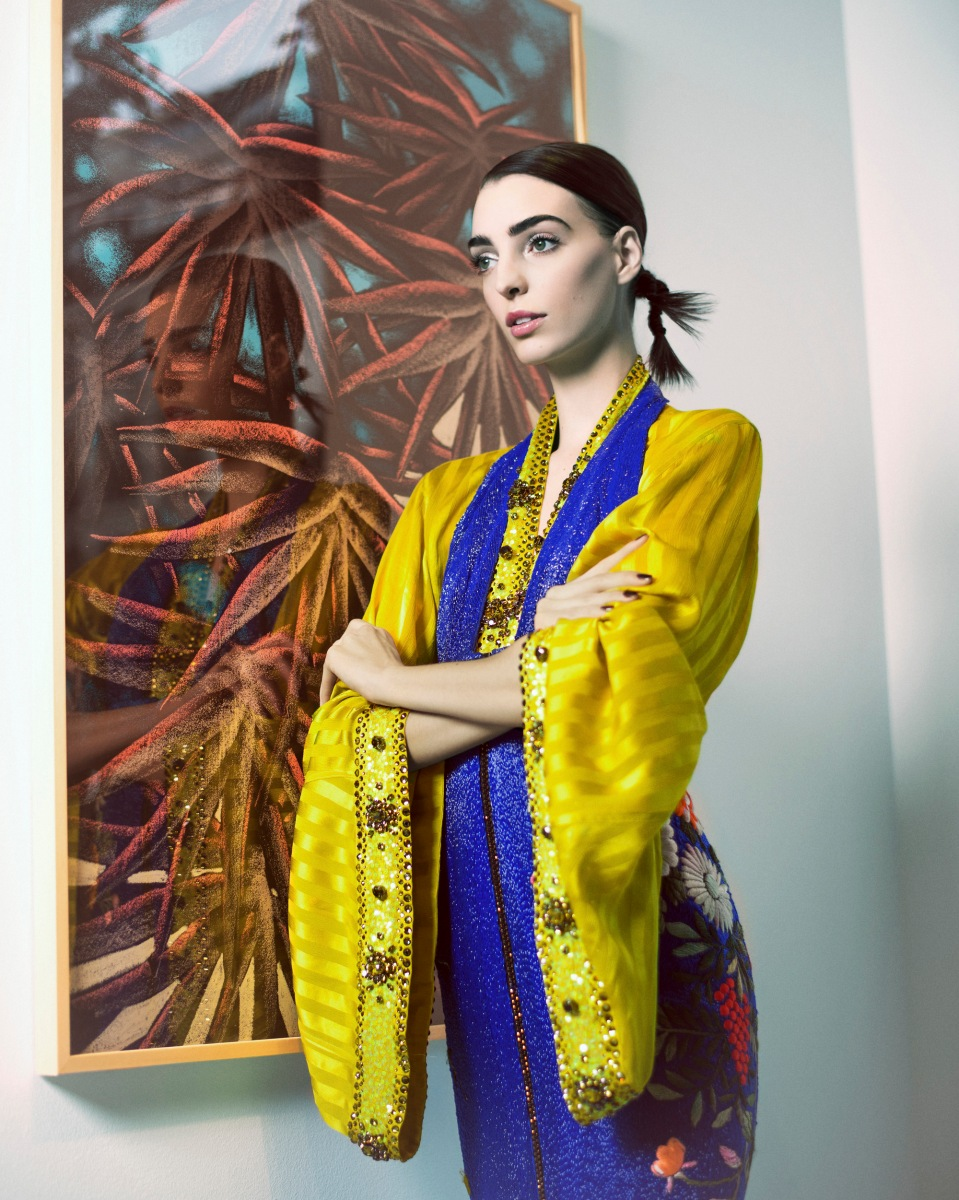 --Viktor & Rolf Haute Couture--  Model Dajana Antic wears:  -Electric blue beads and silk flowers embroidered sheath dress over chartreuse bathrobe, Gaultier Paris -Painting Courtesy Julien Colombier and LN Edition   in Paris on February 01, 2016.  Photographer Benjamin Kanarek, www.benjaminkanarek.com Photo Direction Benjamin Kanarek and Frédérique Renaut Stylist Coline Peyrot Model Dajana Antic @ Premium Models Makeup Artist Topolino @ Calliste Hair Stylist Audrey Lambert @ B Agency Photo Assistant Matthieu Joffres Stylist Assistant Maroua Haouas Special thanks to the Royal Monceau Hotel, www.raffles.com/paris and its Art District Gallery. All paintings  Courtesy Julien Colombier and LN Edition    [FASHION POST MAGAZINE]